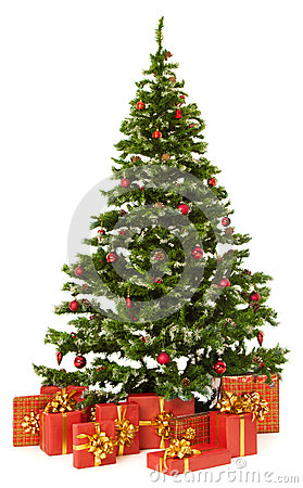 Free Christmas Fir Tree And Presents Gifts Box Over White Background Royalty Free Stock Image - 35197146