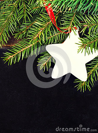 Christmas fir tree on a Blackboard with copyspace for text. Chal