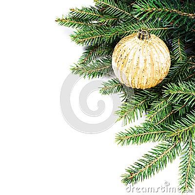 Christmas Fir Tree Border with Christmas decoration isolated on