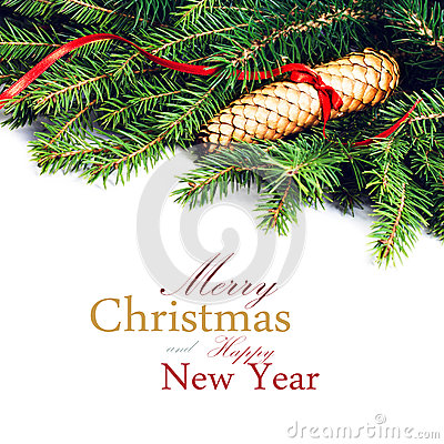 Christmas Fir Tree Border with Christmas decoration  isolated on