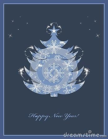 Christmas fir tree on the dark blue background