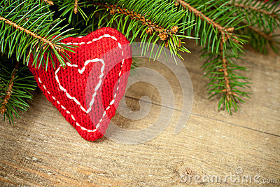 Christmas fir tree with handmade decoration