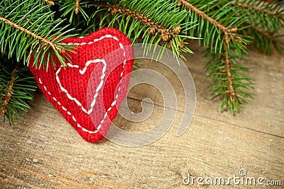 Christmas fir tree with handmade decoration