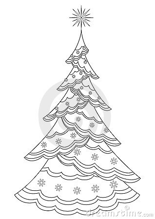 Christmas fir-tree with snowflakes, contours