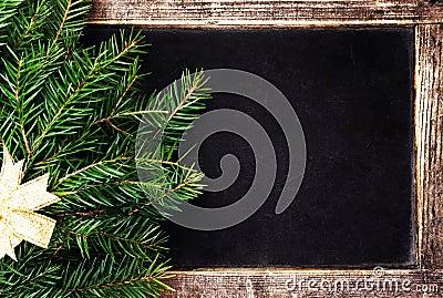 Christmas Fir Tree on Vintage Christmas Blackboard frame. Retro