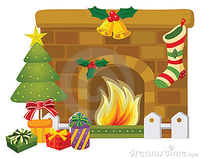 Stock Photos: Christmas fireplace