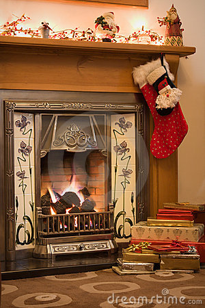 Free Christmas Fireplace Stock Photo - 7491220