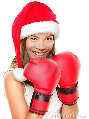 Free Christmas Fitness Boxing Woman Royalty Free Stock Photography - 21601857