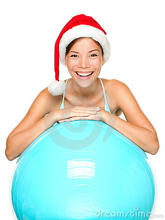 Free Christmas Fitness Woman In Santa Hat Royalty Free Stock Photos - 21385708
