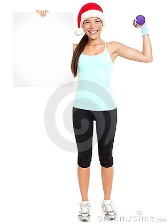 Christmas Fitness woman showing sign