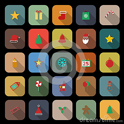 Christmas flat color icons with long shadow