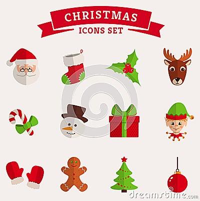 Free Christmas Flat Icons  On White. Vector Set. Royalty Free Stock Image - 47604936
