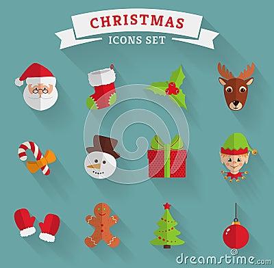 Free Christmas Flat Icons. Vector Set. Royalty Free Stock Photos - 46733438