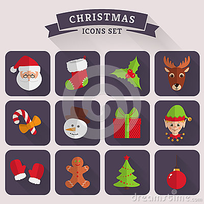 Free Christmas Flat Icons. Vector Set. Stock Photography - 47246432