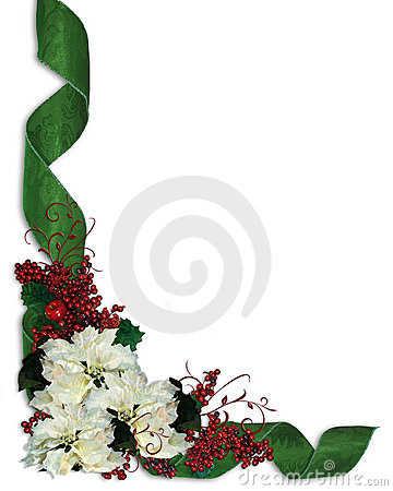 Free Christmas Floral Border Ribbons Royalty Free Stock Image - 7232146