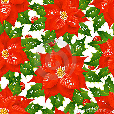 Christmas flowers seamless background