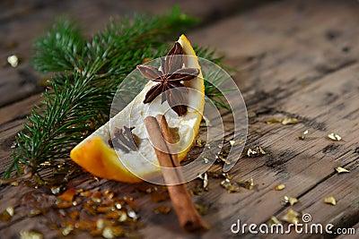 Christmas Food Decoration, Orange, Cinnamon, Fir Branch, Anise Stock Photo