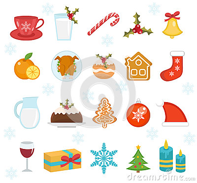 Christmas food icons set. Set of traditional christmas food and desserts food for Santa. Set of festive food and decorations for Vector Illustration