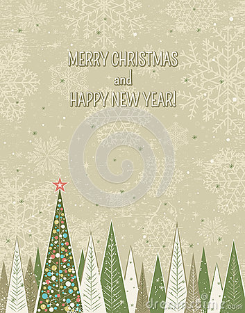 Christmas forest over grunge background,  vector