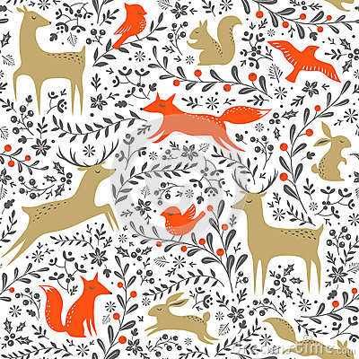 Free Christmas Forest Pattern Royalty Free Stock Image - 61433726