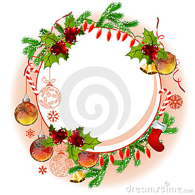 Christmas frame with balls and fir branches