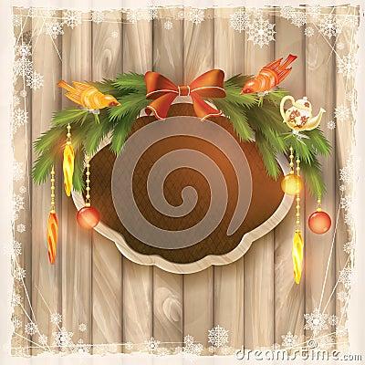 Free Christmas Frame Board, Garland, Ornaments, Birds Stock Photo - 34742220