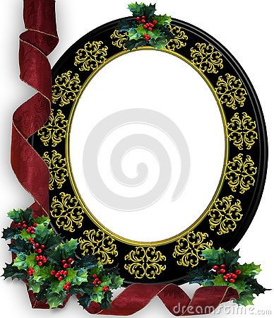 Christmas frame Border Holly and Ribbons frame
