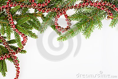 Christmas frame with conifer and red garland