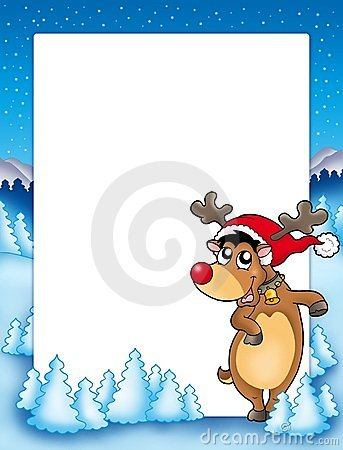 Christmas frame with cute reindeer