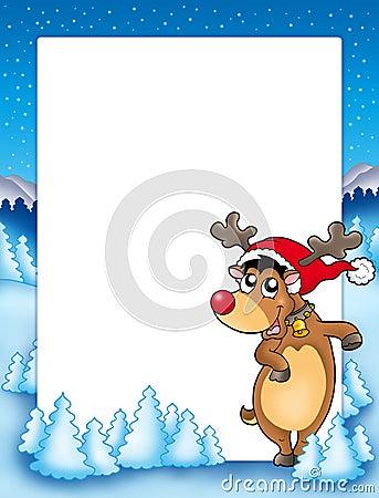 Christmas frame with cute reindeer