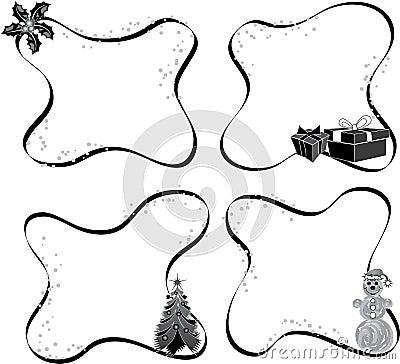 Christmas frame, elements for design, vector