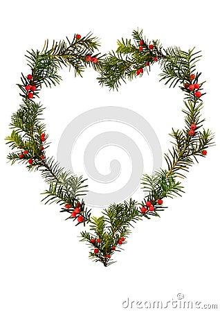 Christmas frame - floral heart