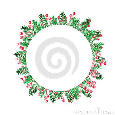Christmas round frame with green branches and red berries. Hand drawn. Cartoon Illustration