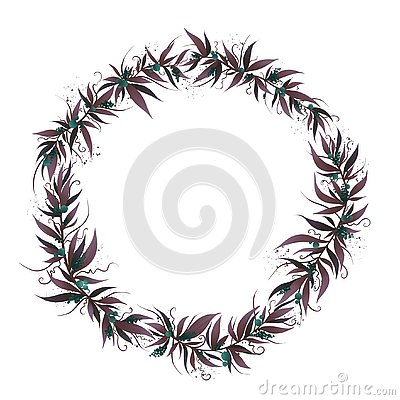 Christmas frame with leafs and berry Stock Photo