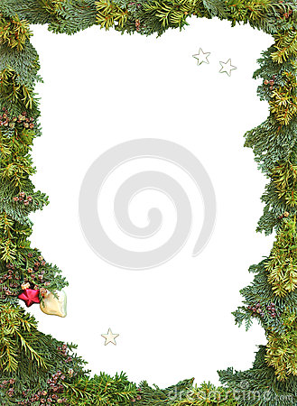 Christmas frame of natural thuja and twigs