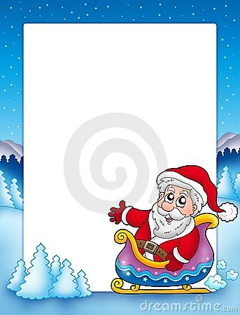 Christmas frame with Santa on sledge