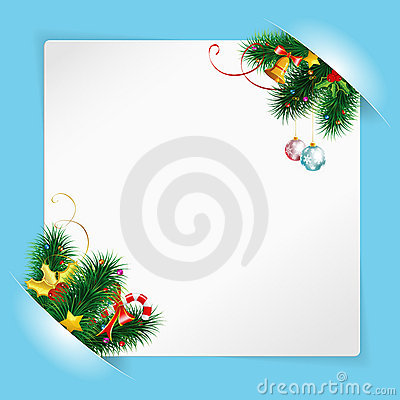 Christmas Frame with Sheet of white Paper