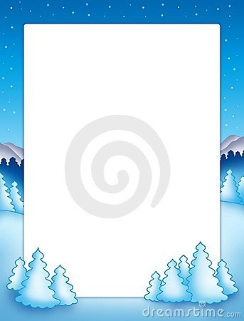 Christmas frame with snowy trees