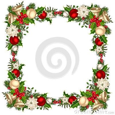 Free Christmas Frame With Fir Branches, Balls, Bells, Holly And Poinsettia. Vector Illustration. Stock Images - 81273874