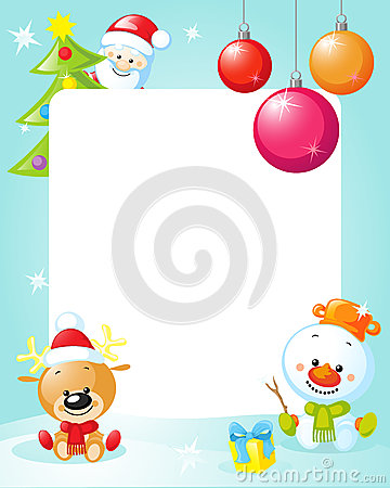 Free Christmas Frame With Snowman, Xmas Tree, Ball And Reindeer Stock Images - 48114624