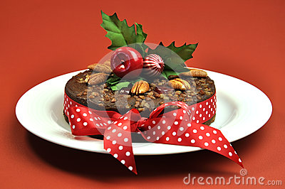 Christmas Fruit Cake with Holly and Ribbon