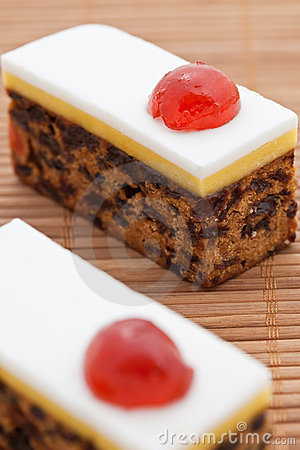 Christmas fruit cake with marzipan