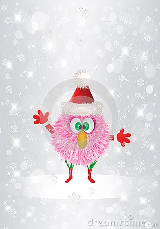 Free Christmas Funny Cartoon Pink Hairy Face Christmas Cute Postcard Stock Photography - 103180502