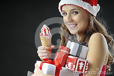 Christmas funny  girl with ice cream