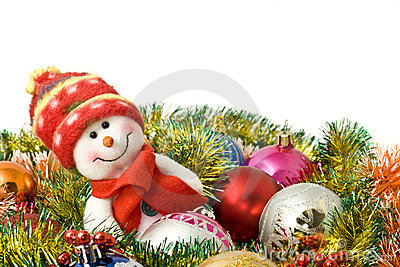 Christmas- Funny white snowman and decoration
