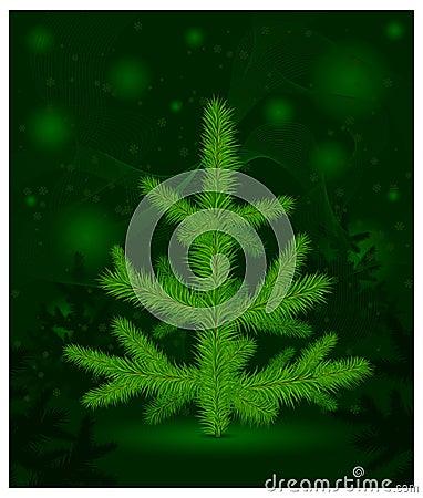 Christmas fur-tree on green