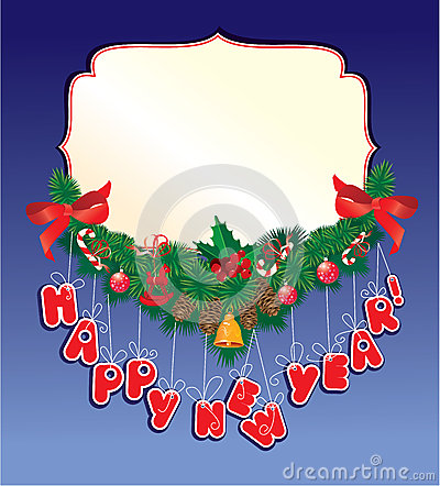 Christmas garland on blue background
