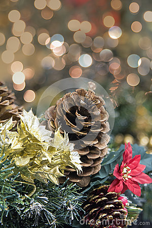 Christmas Garland Decoration with Poinsettia