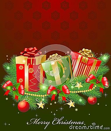 Christmas garland and gifts