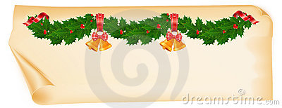 Christmas garland on old paper